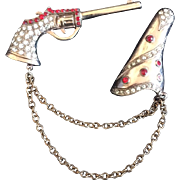 Chatelaine Bejeweled Gun and Holster Pin