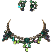 Schiaparelli Shades of Green Necklace and Earring Set