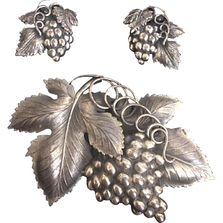 Napier Grapes Pin and Earring Set