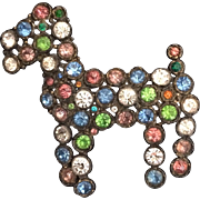 1930's Pavé Colorful Doggy Pin