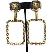 Chanel Lucite Sun/Medusa Link Earrings