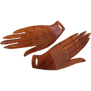 Pair of Large Amber-colored Bakelite Hands Pin
