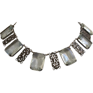 Clear Emerald Cut Crystal Necklace
