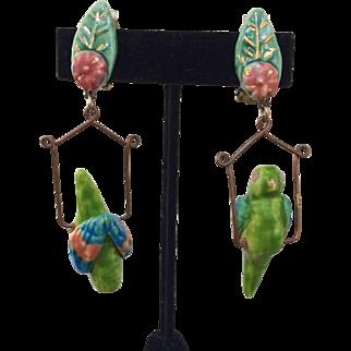Hanging Parrot Earrings