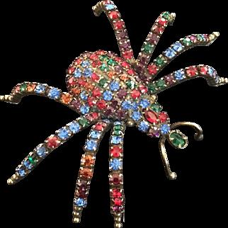 KJL Large Jeweled Spider Pin