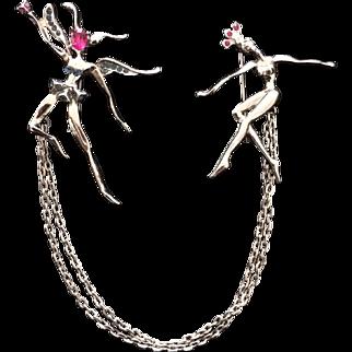 Ballerina Chatelaine Pin