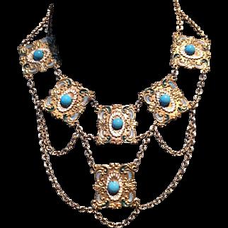 1930's Czech Bib Necklace