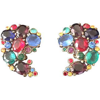 1940's Mixed Colored Stone Earrings