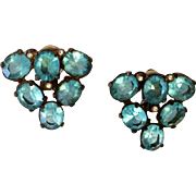 Aqua 1930's Earrings