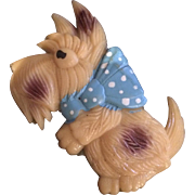 Celluloid Scottie with Blue Polka Dot Ribbon