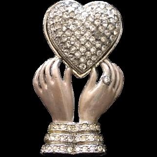 Enamel Hands Holding Pavé Heart 1930's Fur Clip