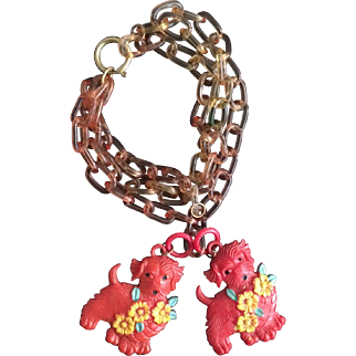 1920's Celluloid Doggie Bracelet