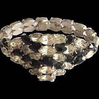 Black and Clear Rhinestone Bracelet