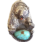 Johnny Blue Jay - Hopi Sterling Turquoise Bear Ring