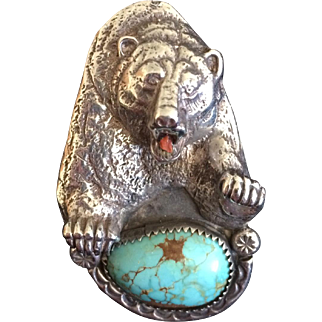 Johnny Blue Jay - Hopi Sterling Turquoise Bear Ring