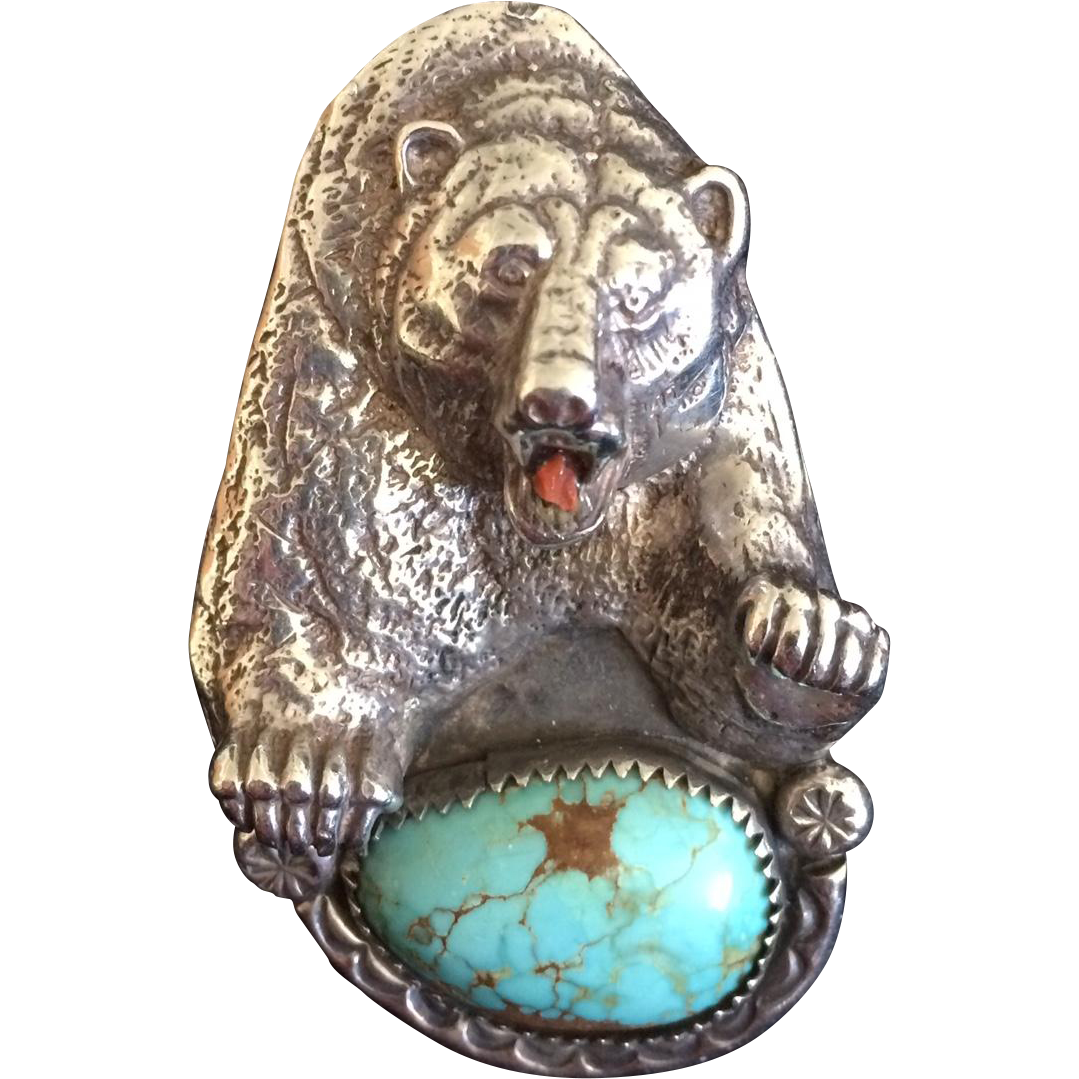 Johnny Blue Jay Hopi Sterling Turquoise Bear Ring From A