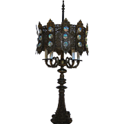 Hollywood Regency Aurora Borealis Metal Lamp