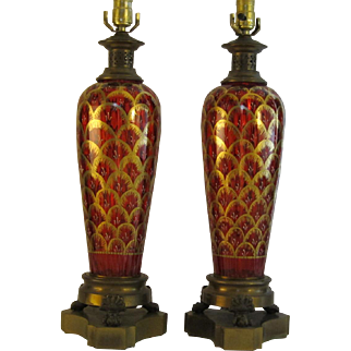 Ruby Glass and Gold Lamps