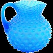 Antique Blue Opalescent Hobnail Pitcher