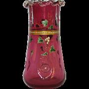 Tall Handpainted Bohemian Cranberry Vase