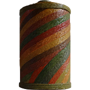Aged Arts & Crafts Jar with a Lid in Applied Fabric or Twine in Five Horizontal Colors