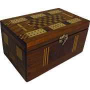 Walnut Playing Card Box with Cribbage Board Mosaic, English