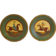 Set of Two Painted Americana Style Plates ca 1950