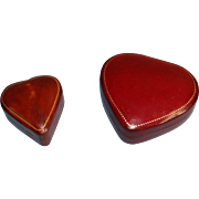 Two Fine Italian Gilt Tooled-leather Heart Boxes ca. 1980