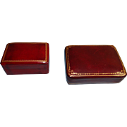 Two Fine Italian Gilt Tooled-leather Boxes ca. 1985