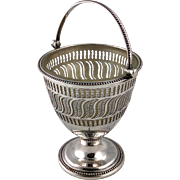 Old Sheffield Plate handled Sugar Basket with glass insert; hand hammered, fine bright-cut work