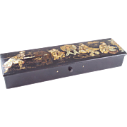 Late 19th -- early 20th century French black lacquer Chinoiserie pencil box