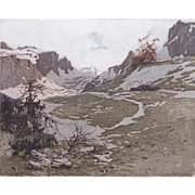 "Josef Eidenberger ""Dolomites in Summer"" aquatint etching -- ON HOLD"