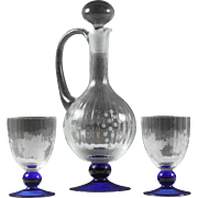 Crystal Decanter with Six Glasses