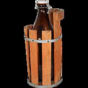 Swedish Beer Bottle in Wood Bucket