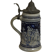 Salt Glaze and Pewter German Beer Stein with Party Scene