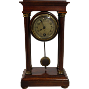 Petite English Table Clock with Exposed Pendulum