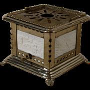 German Porcelain Lithophane 4 Panel Kerosene Tea Warmer