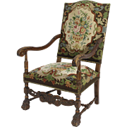 Walnut Embroidered Arm Chair