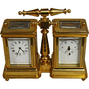 French Brass Carriage Clock with Barometer - Red Tag Sale Item