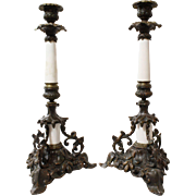 Brass and Porcelain Candlesticks set of 2
