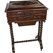 Carved Oak Sewing Table