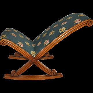 Needlepoint Gout Rocking Footstool