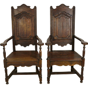 Oak High Back Farm Chairs Set of Two