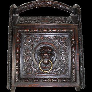 Carved Wood Coal Scuttle Bin/Box