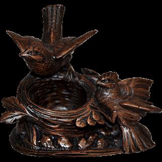 Black Forest Carved Birds with Nest