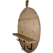 Round Bread Board Shelf with Hand Forged Hooks
