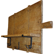 Rectangular Bread Board Shelf with Hand Forged Hooks