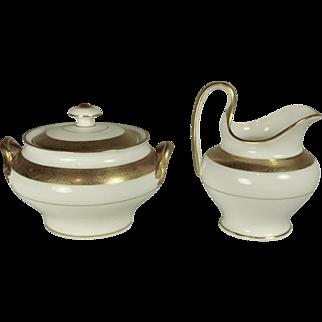 Minton Gold Plated Buckingham Sugar Bowl and Creamer signed by Elijah Sherman Grammer