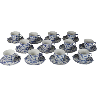 Royal Copenhagen Blue Fluted Full Lace Demitasse Cups and Saucers Set/12