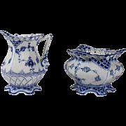 Royal Copenhagen Blue Fluted Full Lace Creamer and Sugar Bowl